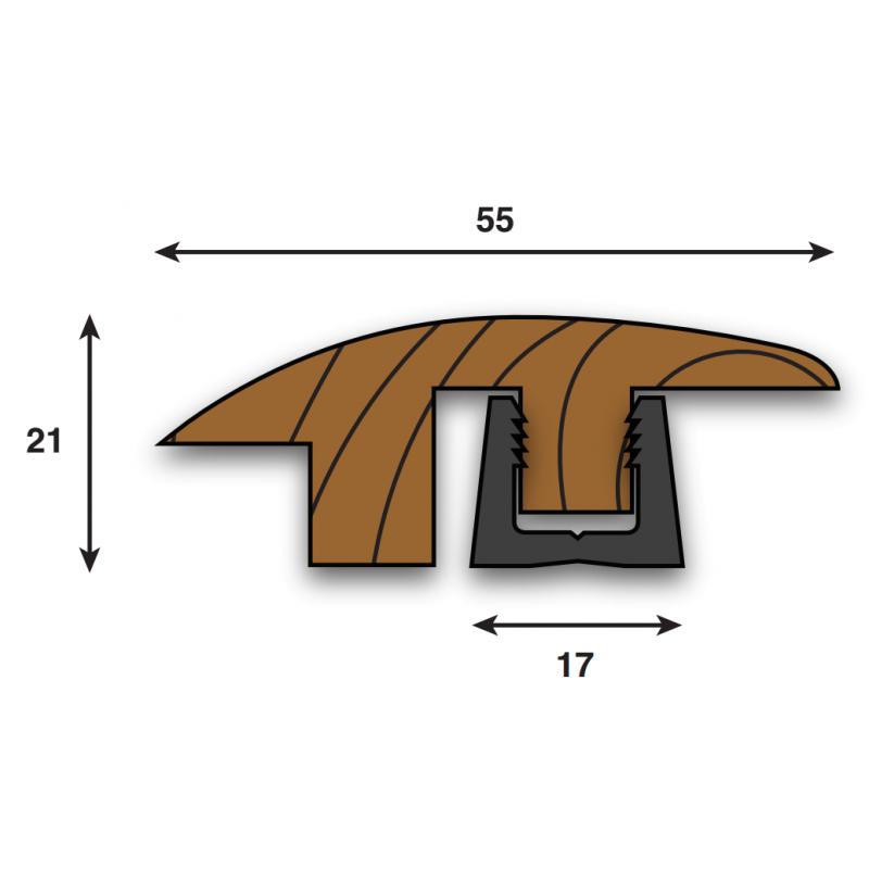 Woodpecker contour solid wood semi-ramp 990mm profile high 18-22mm