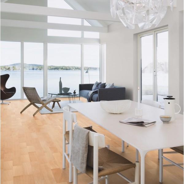 BOEN Beech Andante 3- Strip 215mm Satin Lacquered Engineered Wood Flooring (D)