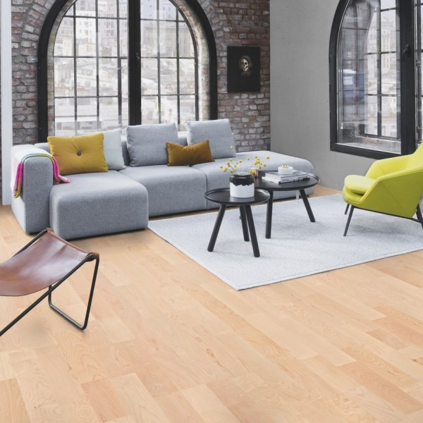 BOEN Maple Canadian Andante 3- Strip 215mm Natural Oil Lacquered Engineered Wood Flooring