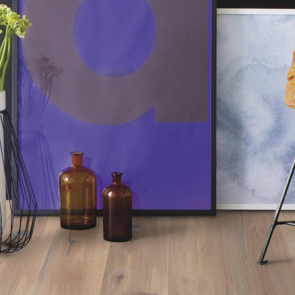 Boen Oak Vintage White Oiled 209mm Brushed Bevelled Engineered Wood Flooring