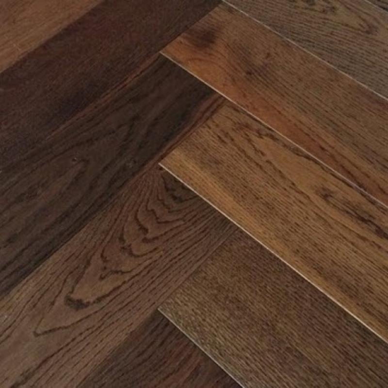 Dark Smoked Oak Engineered Herringbone Flooring By Elka