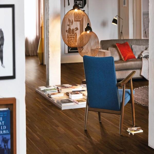 BOEN Walnut American 3-Strip 215mm Matt Lacquered Square Edge Engineered Wood Flooring