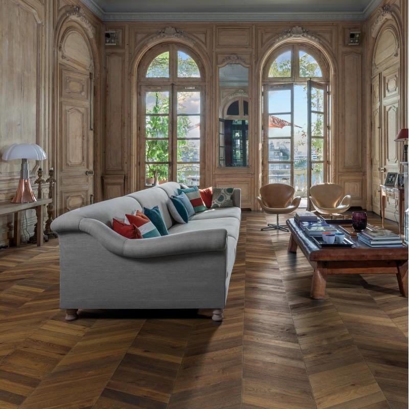 Kahrs Chevron Oak Dark Brown Oiled Engineered Wood Flooring
