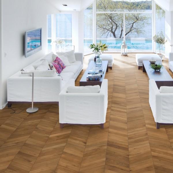 Kahrs Chevron Oak Light Brown Oiled Engineered Wood Flooring