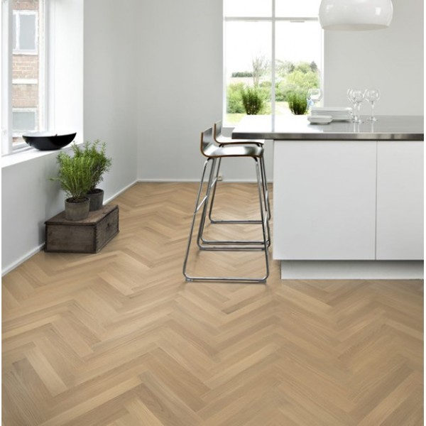 Kahrs Oak Herringbone (White) Matt Lacquered Engineered Parquet Flooring