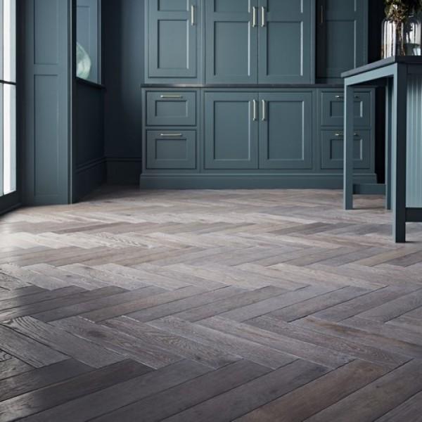 OFD Oak Severn Brushed & Grey Wash Oiled Engineered Herringbone Flooring