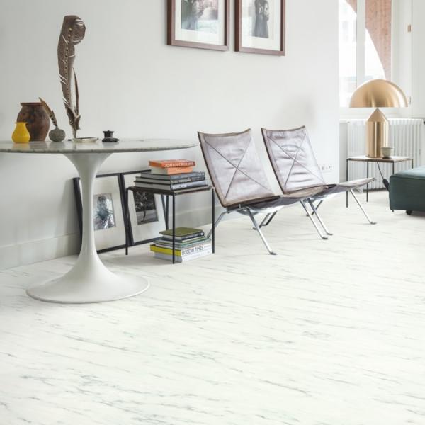 Quick-Step Livyn Ambient Click Marble Carrara White AMCL40136 Vinyl Flooring