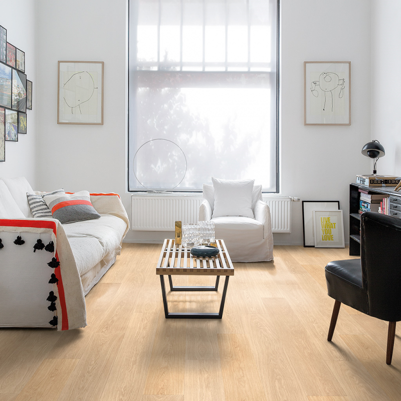 Quick Step Largo White Varnished Oak Planks Laminate Flooring