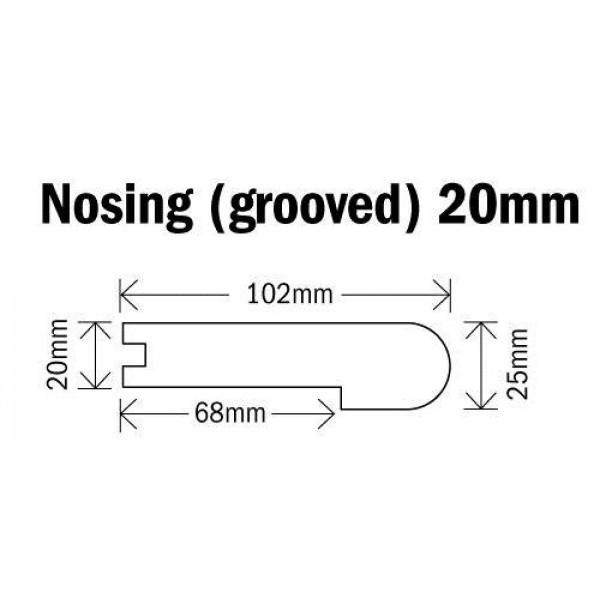 Nosing (grooved) 20mm Natural Oak 1000mm