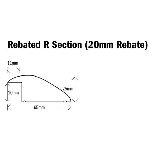Threshold R (Ramp, Reducer) Section Natural Oak 1000mm(l) (20mm Rebate) Rebated