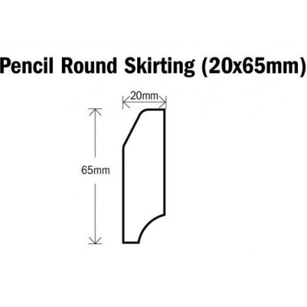 Skirting Pencil Round Natural Oak 2400mm (20x65mm)
