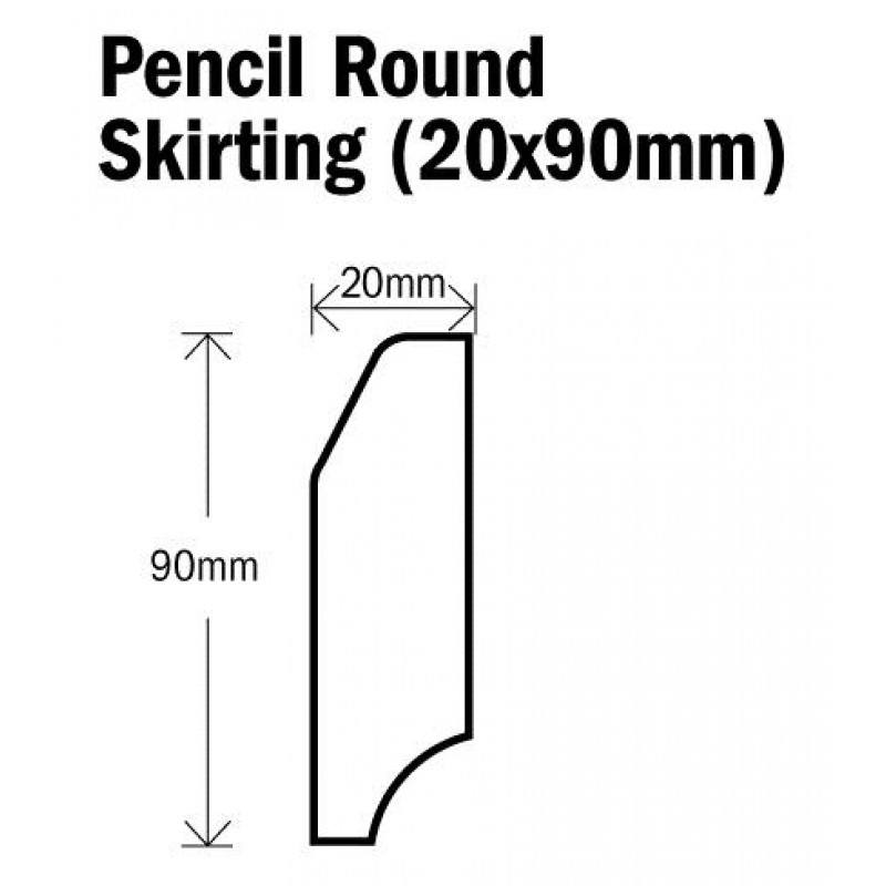 Skirting Pencil Round Natural Oak 2400mm (20x90mm)
