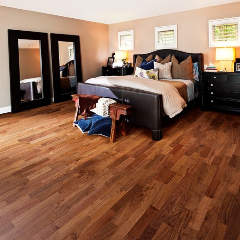 Kahrs Walnut Montreal 3 Strip 200mm Satin Lacquered