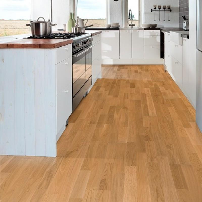 Small Kitchen Wood Floor: Kahrs Oak Verona 2-Strip 200mm Matt Lacquered