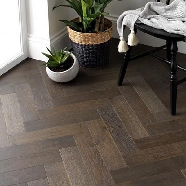 Woodpecker Goodrich Espresso Oak Engineered Herringbone Flooring