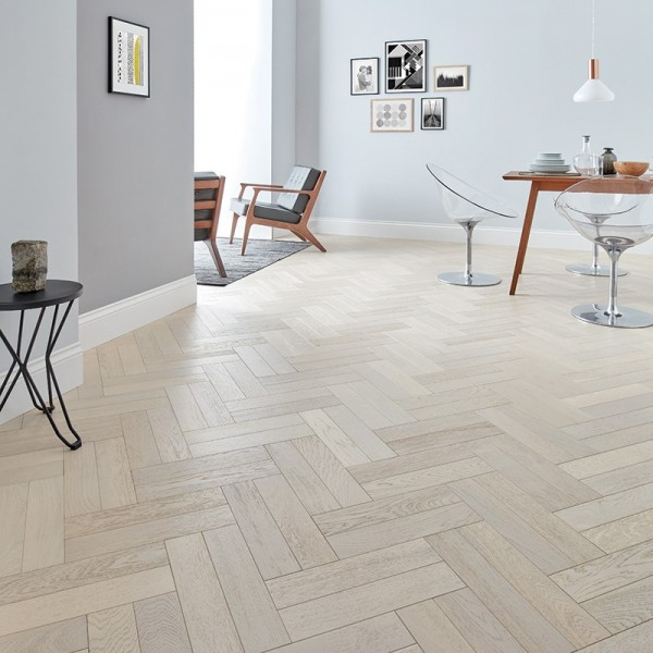 Woodpecker Goodrich Whitened Oak Engineered Herringbone Flooring