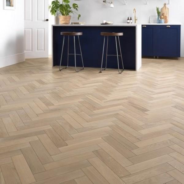 Woodpecker Goodrich Ecru Oak Engineered Herringbone Flooring
